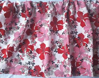 Red Flower Print Kitchen Valance Curtain