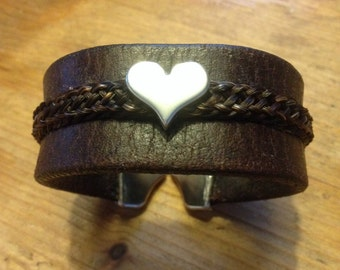 Leather Bracelet with braided horse hair