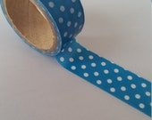 Blue Polka Dot Washi Tape - 3 meters - 15mm Width Blue & White Spotty Washi Tape Dotted Deco Tape