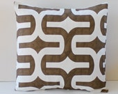 Brown and White Modern Pillow Cover- Brown and White Modern Decorative Couch Pillow 16x16- Ready to Ship