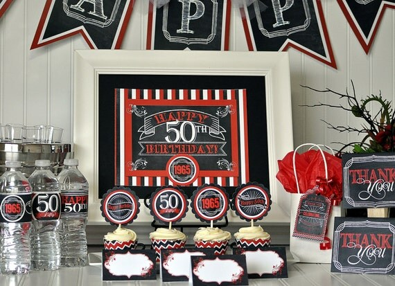 50th birthday party package 50th birthday by gracenldesigns. Black Bedroom Furniture Sets. Home Design Ideas