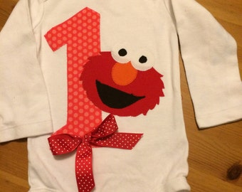 Elmo First Birthday Bodysuit, Elmo Girl Birthday Bodysuit, Elmo Birthday Bodysuit with Bow,  Elmo Outfit