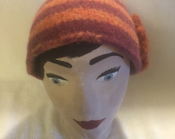 womens wool felted peach and lavender striped hat