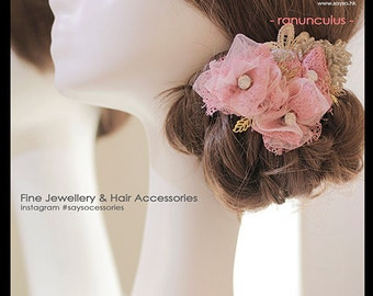 "Handmade Dusty Pink Bridal Fascinator ""Ranunculus"", Blush Bridal Headpiece, Bridal Headpiece, Blush Bridal Fascinator, Flower headpiece"