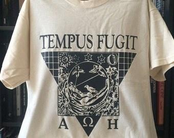 TEMPUS FUGIT t-shirt ecru-natural cotton