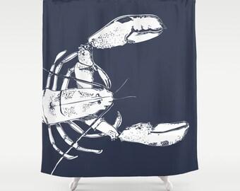 45 colors Nautical Shower Curtain, Lobster Shower Curtain, Navy Shower Curtain, Lobster Decor, Nautical Bathroom, Ocean Decor, choose color
