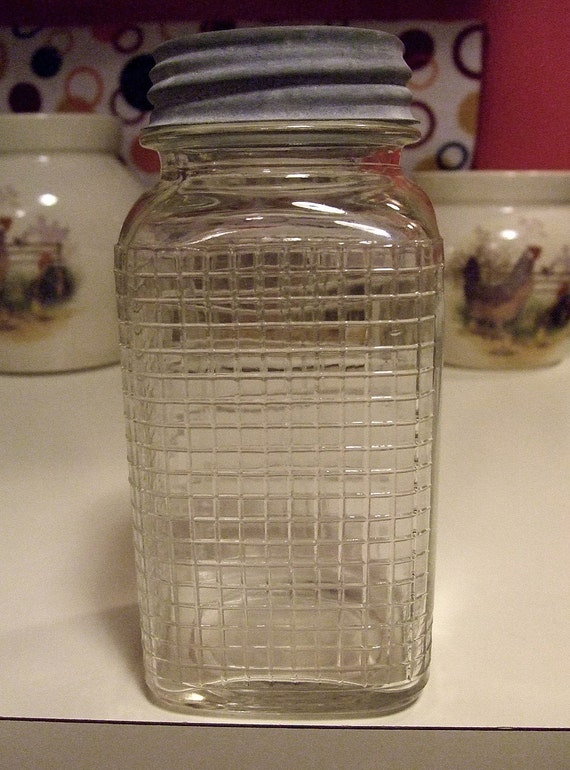 Checker Board Pattern Embossed Quart Fruit Canning Jar Dry