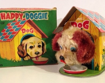 1950s Wind Up Dog With Box