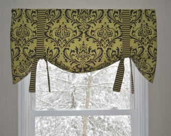 Window Treatment, Tie Up Valance, Window Valance, Olive Green and Chocolate Brown Window Valance, Green and Brown Window Valance