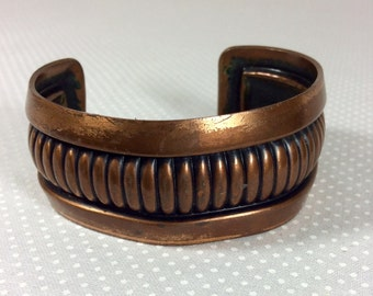 Women's Rustic Solid Copper Cuff