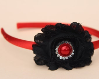 Red flower headband, black and red headband, Valentines headbands, girls headbands, red and black headbands, red kids hair accessory girls
