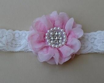 SALE Light pink headband, baby girls headband, light pink flower headband, girls hair accessory elastic headband ivory and light pink flower