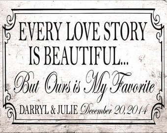 Custom Every Love Story is Beautiful But Ours is My Favorite Metal Sign, Customized Wedding, Anniversary, Gift, HB7022