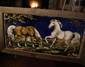 Gorgeous Large Vintage Painted Horses on Velvet from Italy