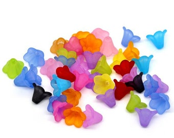 Lily Flower Frosted Acrylic Beads 14x10mm mixed color