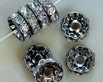 Silver Plated 6mm Crystal Rhinestone Spacer Wheel Rondelles Bead charms -beads spacers charm,  stone connectors spacers