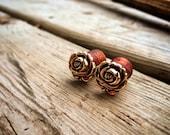 """Golden Rosebud Plugs-Sizes: 2g, 0g, 00g, 7/16"""", 1/2"""", 9/16"""", 5/8"""", 3/4"""", 7/8"""" &1""""Pretty/Lovely / Earthy / Elegance / Great Gift /"""