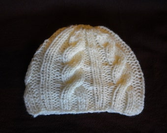 Baby's Lemon, Hand Knitted, Cable Pattern, Hat