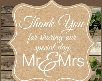 Wedding Favor Tag / Instant Download Kraft Favor Tag / Rustic Wedding Kraft Printable Thank You Tag