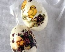 Two Goose White Eggs with String and Yellow Chicken Decoupage, Hand Decorated Painted Easter Egg