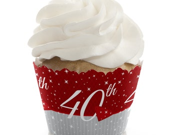 40th Anniversary Cupcake Wrappers - Anniversary Party Cupcake Decorations - Set of 12