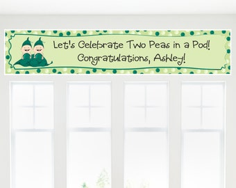 Two Peas In A Pod Banner - Custom Baby Shower or Birthday Party Decorations
