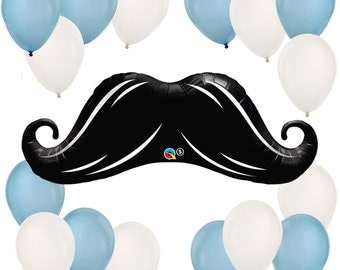 Mustache Balloon Bouquet - Balloon Kit for a Baby Shower or Birthday Party