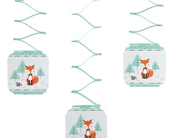 Set of 6 Mr. Foxy Fox Hanging Decorations for Baby Showers and Birthday Parties