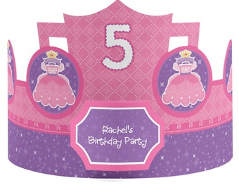 8 Custom Princess Party Hats - Birthday Party Hats - Party Supplies - 8 Count
