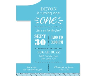 Fun to be One - 1st Birthday Boy Custom Invitations - Printed Personalized Party Supplies - Set of 12