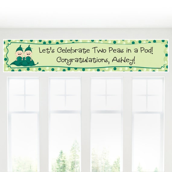 two peas in a pod banner custom baby shower or birthday party