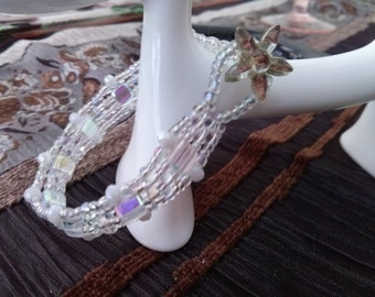 Hand made White Wedding bracelet swarovski beads star flower button clasp