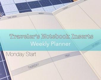 Weekly Planner -- No Grid {Pocket Size} Printable Traveler's Notebook Insert Booklet // Monday Start