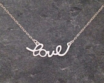 Love Pendant Necklace, Love Necklace, Silver Necklace, Gold Necklace, Gift for Her, Celebrity Inspired
