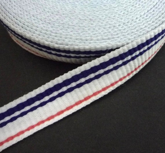 10yd / 9.1 Meter White With Blue And Pink Stripes