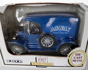 Vintage Ertl Die Cast 1917 Away Model T Delivery Truck Bank, Made in USA  1989