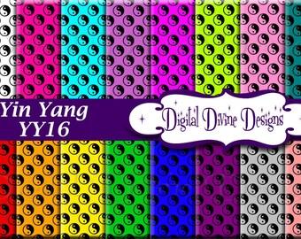 Yin Yang Digital Scrapbooking  Paper Set - Instant Download