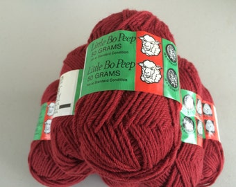 Vintage, Hand Knitting Yarn, Wool Yarn, Sport Weight, Worsted Weight, Maroon Color # 16 by Little Bo Peep, 5-Ply, Made in Australia, Warm