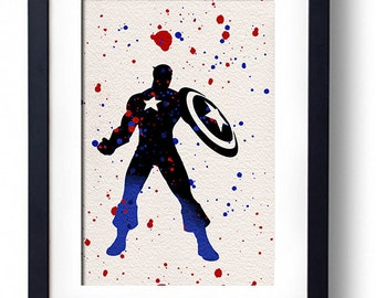 The Avengers movie poster art print Captain America comic book art fan art wall decor home decor geek art