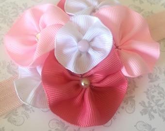 Three tone pink grossgain headband