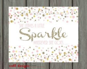 Blush Pink And Gold Wall Art Nursery Wall Art Sparkle