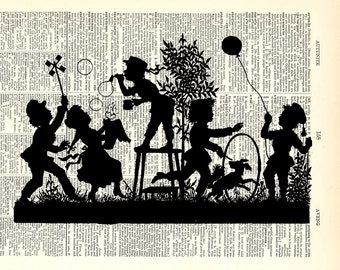 "Kids Playing vintage print. Vintage book page art print.  Print on book page. Fits 8""x10"" frame."