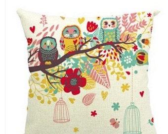 Linen owl pillow cover