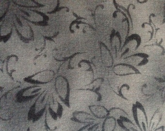 Fabric by the Yard - Muted Flowers Grey Cotton