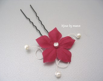 Wedding Bridal Jewelry burgundy flower hair accessories and ivory pearls