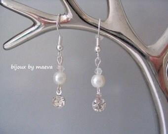earrings wedding ivory pearls and rhinestones transparent