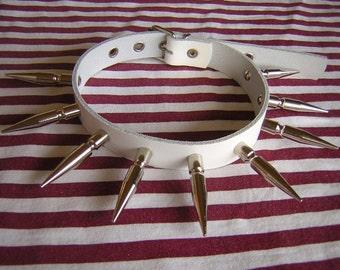 white chocker with giant spikes, visual kei, punk
