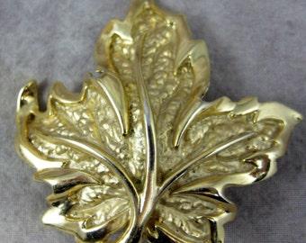 Napier GOLD Vermeil on STERLING MapLe LeaF Brooch LARGE Broach w/pendant loop-25 Grams - Autumn Fall