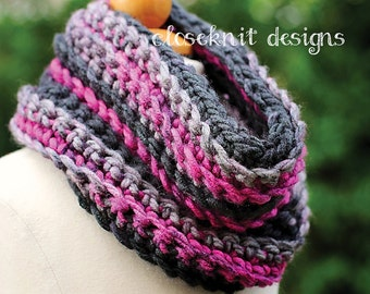 Toddler Purple & Gray Crochet Cowl Infinity Scarf Warmer