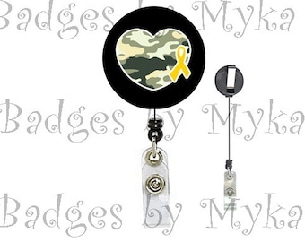 Retractable ID Badge Holder - Army with Ribbon